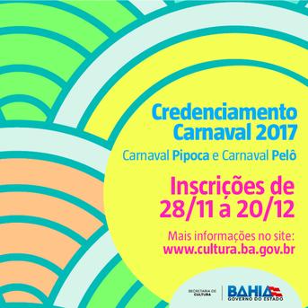 Inscrições para Carnaval 2017.